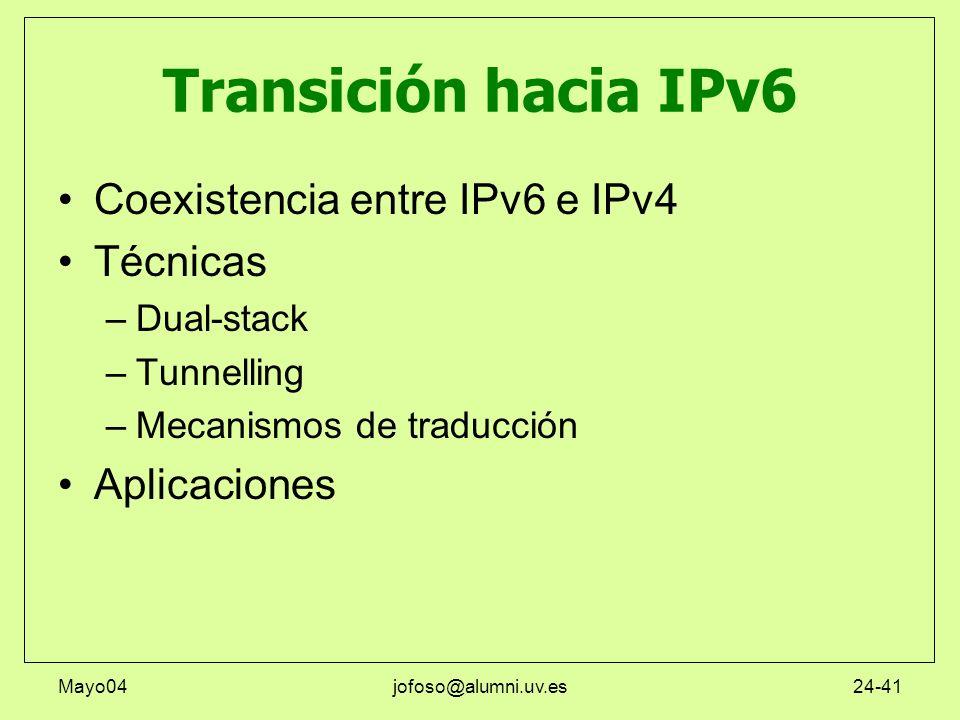 Mayo04jofoso@alumni.uv.es24-41 Transición hacia IPv6 Coexistencia entre IPv6 e IPv4 Técnicas –Dual-stack –Tunnelling –Mecanismos de traducción Aplicac