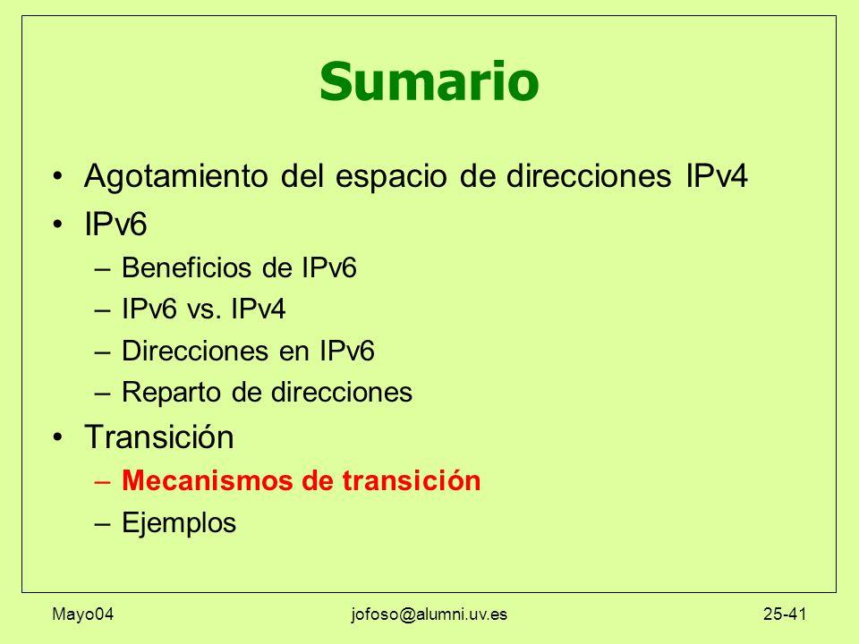 Mayo04jofoso@alumni.uv.es25-41 Sumario Agotamiento del espacio de direcciones IPv4 IPv6 –Beneficios de IPv6 –IPv6 vs. IPv4 –Direcciones en IPv6 –Repar