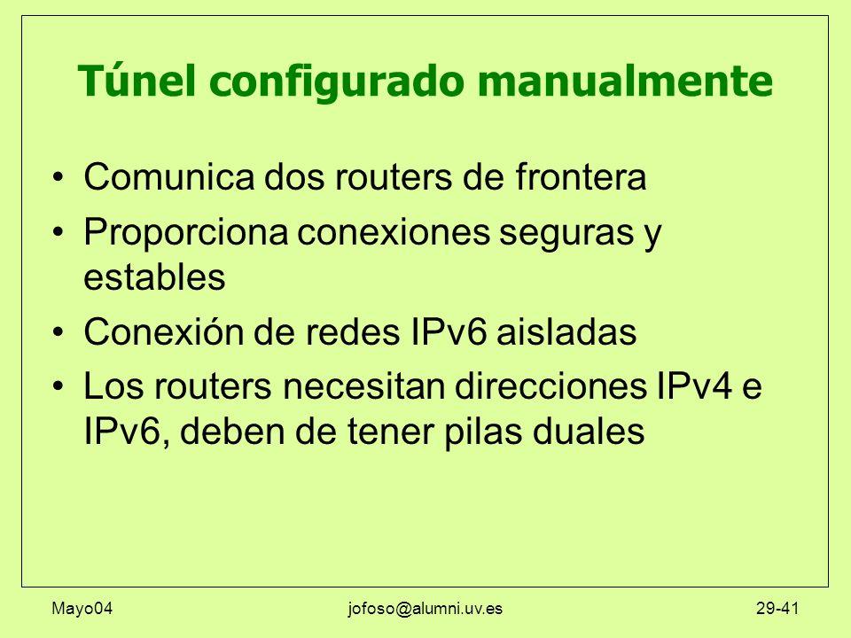 Mayo04jofoso@alumni.uv.es29-41 Túnel configurado manualmente Comunica dos routers de frontera Proporciona conexiones seguras y estables Conexión de re