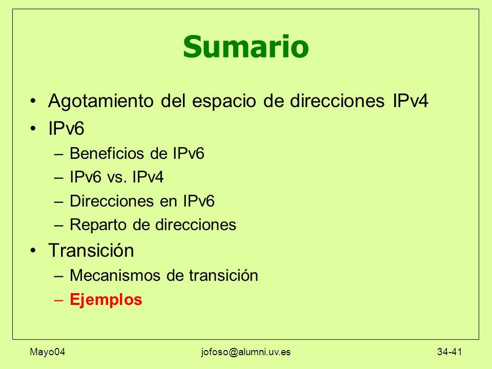 Mayo04jofoso@alumni.uv.es34-41 Sumario Agotamiento del espacio de direcciones IPv4 IPv6 –Beneficios de IPv6 –IPv6 vs. IPv4 –Direcciones en IPv6 –Repar