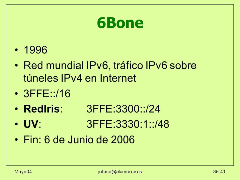 Mayo04jofoso@alumni.uv.es35-41 6Bone 1996 Red mundial IPv6, tráfico IPv6 sobre túneles IPv4 en Internet 3FFE::/16 RedIris:3FFE:3300::/24 UV:3FFE:3330: