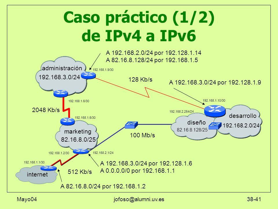 Mayo04jofoso@alumni.uv.es38-41 Caso práctico (1/2) de IPv4 a IPv6 marketing administración internet diseño desarrollo 128 Kb/s 2048 Kb/s 100 Mb/s 512
