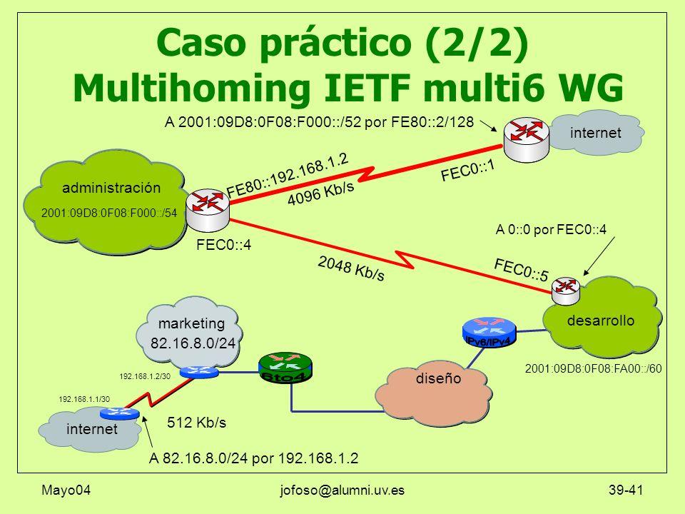 Mayo04jofoso@alumni.uv.es39-41 Caso práctico (2/2) Multihoming IETF multi6 WG marketing administración internet diseño desarrollo 4096 Kb/s 512 Kb/s A