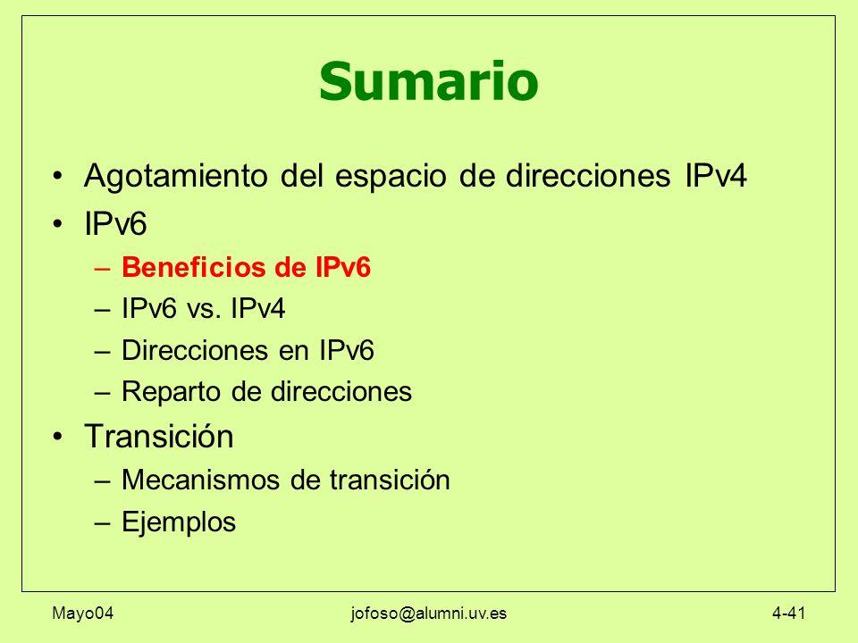 Mayo04jofoso@alumni.uv.es4-41 Sumario Agotamiento del espacio de direcciones IPv4 IPv6 –Beneficios de IPv6 –IPv6 vs. IPv4 –Direcciones en IPv6 –Repart