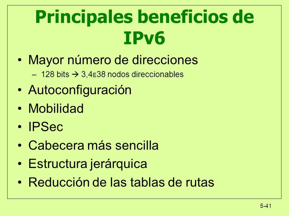 5-41 Principales beneficios de IPv6 Mayor número de direcciones –128 bits 3,4 E 38 nodos direccionables Autoconfiguración Mobilidad IPSec Cabecera más