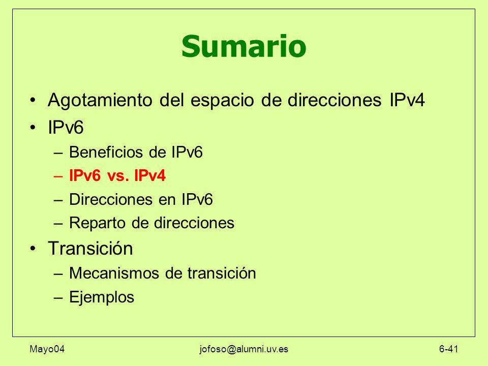Mayo04jofoso@alumni.uv.es6-41 Sumario Agotamiento del espacio de direcciones IPv4 IPv6 –Beneficios de IPv6 –IPv6 vs. IPv4 –Direcciones en IPv6 –Repart