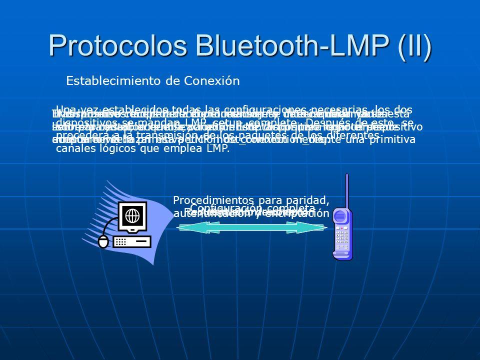 Protocolos Bluetooth-LMP (II) Establecimiento de Conexión Requerimiento de conexión Tras haberse completado el procedimiento de búsqueda ya se está li