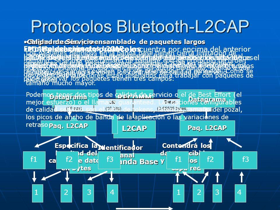 Protocolos Bluetooth-L2CAP L2CAP es un protocolo que se encuentra por encima del anterior protocolo (LMP), se encarga de adaptar los protocolos superi
