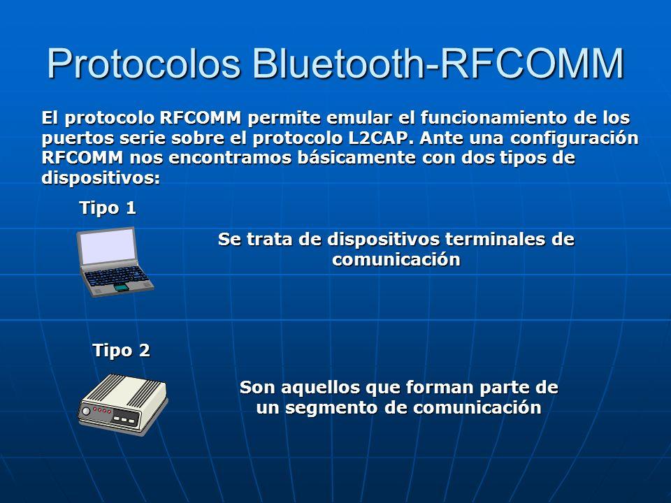 Protocolos Bluetooth-RFCOMM El protocolo RFCOMM permite emular el funcionamiento de los puertos serie sobre el protocolo L2CAP. Ante una configuración