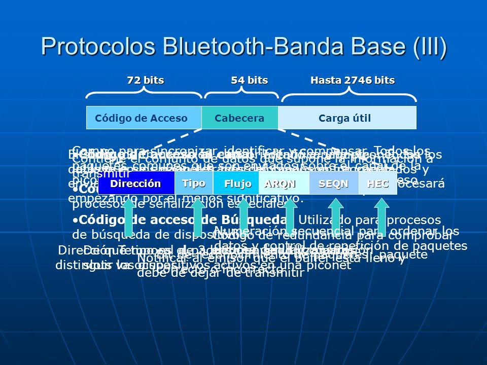 Protocolos Bluetooth-Banda Base (III) El stma. de transmisión esta orientado a paquetes. Todos los datos que se envían a través del canal son fragment