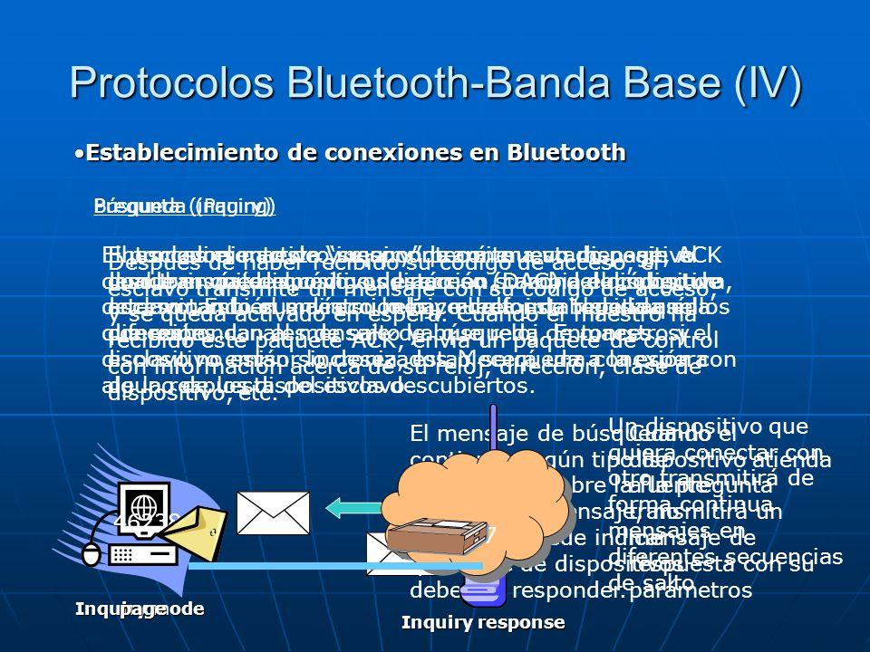 Protocolos Bluetooth-Banda Base (IV) Establecimiento de conexiones en BluetoothEstablecimiento de conexiones en Bluetooth Pregunta (inquiry) El proced