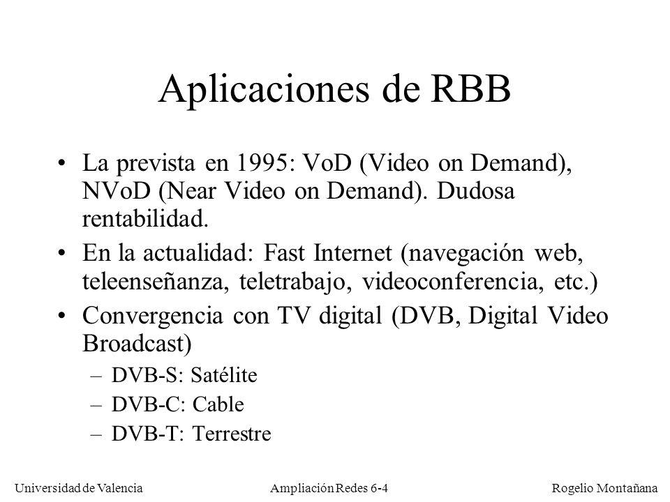 Universidad de Valencia Rogelio Montañana Ampliación Redes 6-45 Caudales brutos en redes CATV Debido al overhead introducido por el FEC (Forward Error Correction) y otros factores los caudales netos son aproximadamente un 10-15% menores que los brutos Anchura (KHz)KbaudiosCaudal QPSK (Kb/s) Caudal 16 QAM (Kb/s) 200160320640 4003206401280 80064012802560 1600128025605120 32002560512010240 Anchura (MHz) KbaudiosCaudal 64 QAM (Kb/s) Caudal 256 QAM (Kb/s) 6 (NTSC)505730342 6 (NTSC)536142888 8 (PAL)69524171255616 Asc.