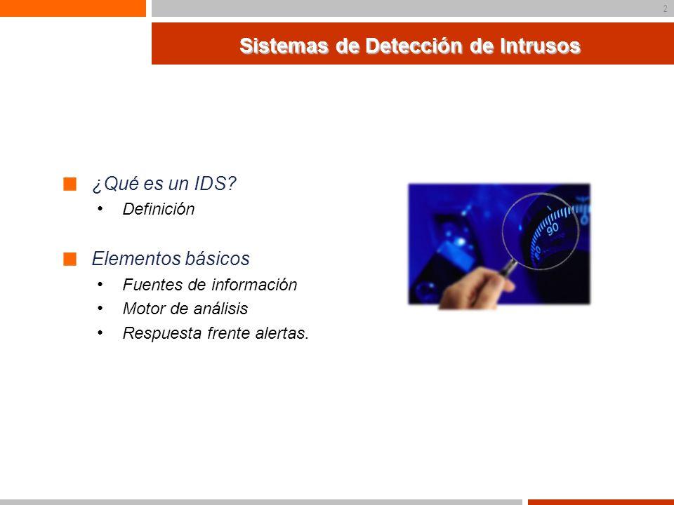 3 Sistemas de Detección de Intrusos Categorías NIDS vs HIDS DIDS Análisis de patrones vs Detección de anomalías Sistemas pasivos vs Sistemas Activos