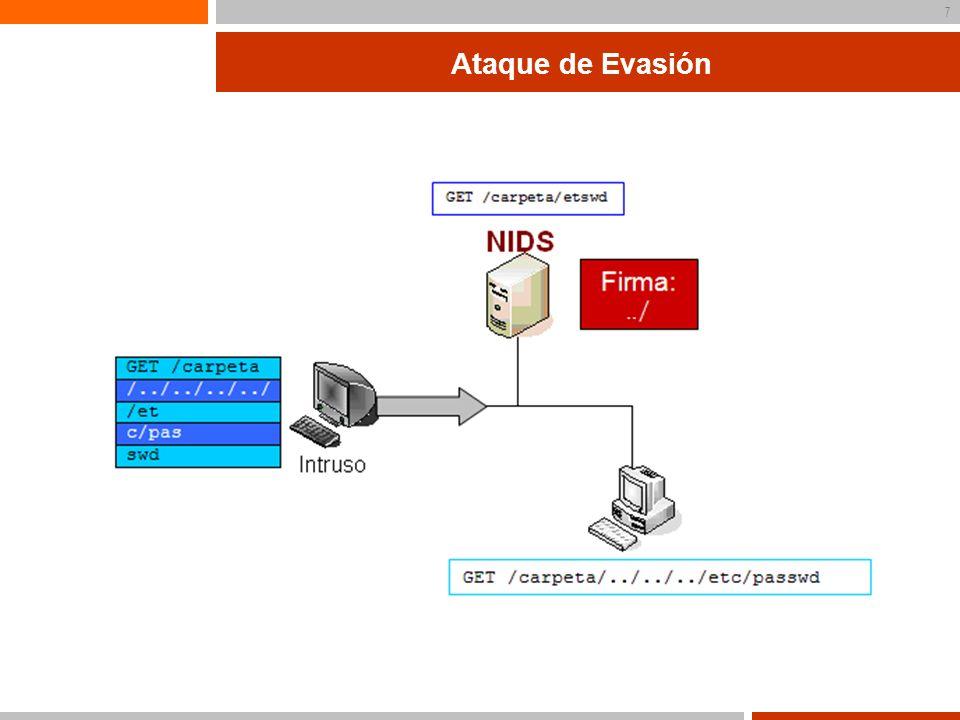 8 Capa de red Ataques en la capa de red Cómo conseguir Inserción o Evasión en el NIDS Cabeceras malformadas Ejemplo: checksum Opciones IP Strict source routing Timestamp
