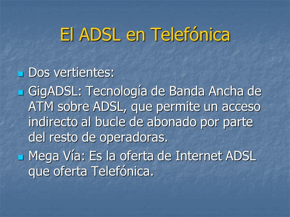 El ADSL en Telefónica Dos vertientes: Dos vertientes: GigADSL: Tecnología de Banda Ancha de ATM sobre ADSL, que permite un acceso indirecto al bucle d