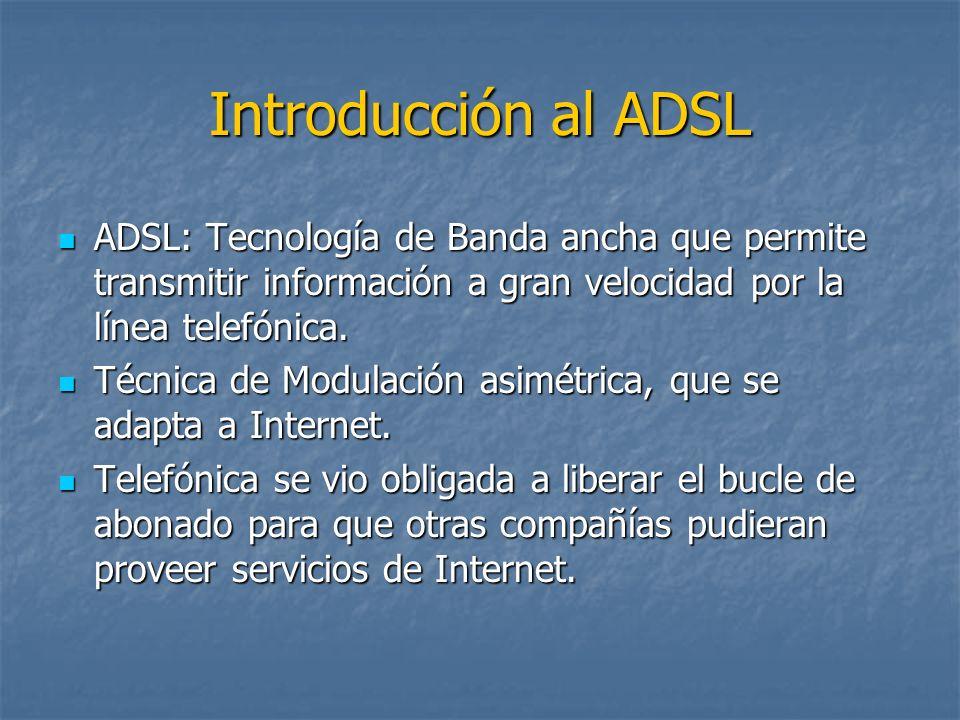 Introducción al ADSL ADSL: Tecnología de Banda ancha que permite transmitir información a gran velocidad por la línea telefónica. ADSL: Tecnología de