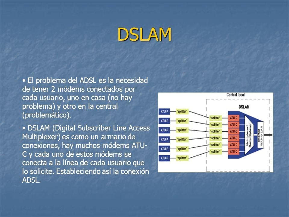 DSLAM El problema del ADSL es la necesidad de tener 2 módems conectados por cada usuario, uno en casa (no hay problema) y otro en la central (problemá