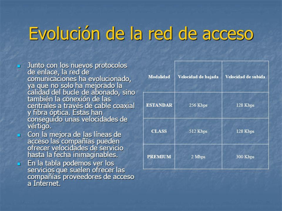 Evolución de la red de acceso Junto con los nuevos protocolos de enlace, la red de comunicaciones ha evolucionado, ya que no solo ha mejorado la calid
