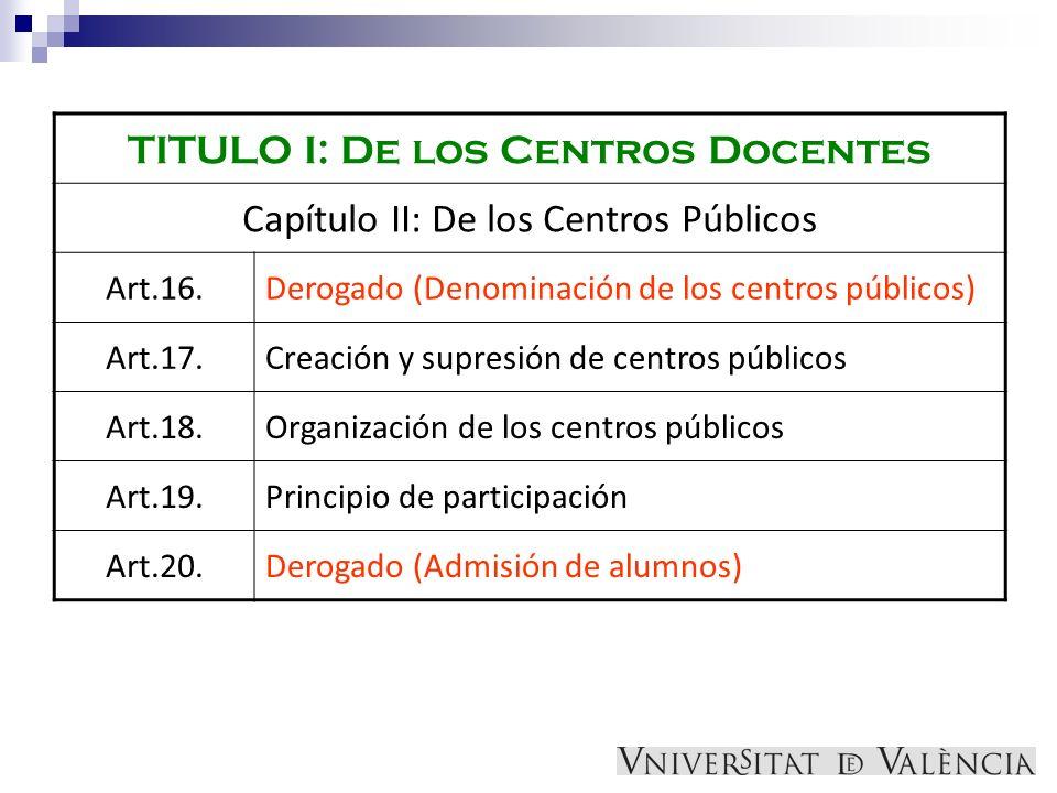 TITULO I: De los Centros Docentes Capítulo II: De los Centros Públicos Art.16.Derogado (Denominación de los centros públicos) Art.17.Creación y supres