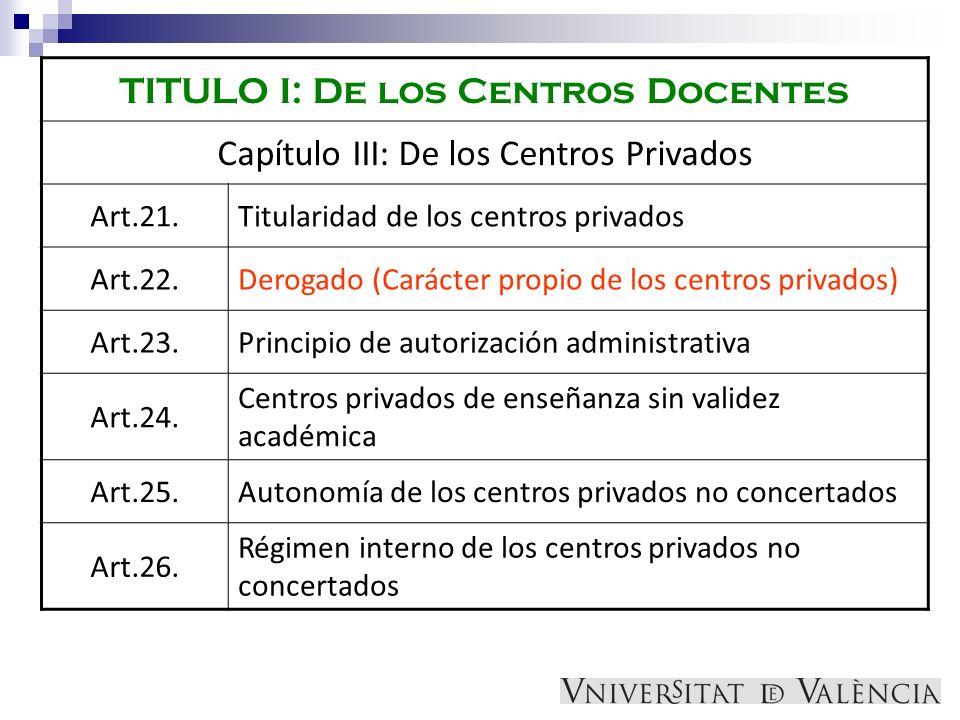 TITULO I: De los Centros Docentes Capítulo III: De los Centros Privados Art.21.Titularidad de los centros privados Art.22.Derogado (Carácter propio de