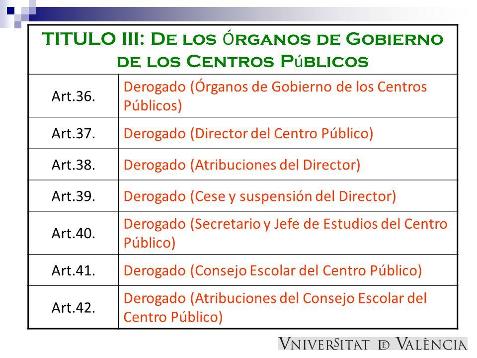 TITULO III: De los Ó rganos de Gobierno de los Centros P ú blicos Art.36. Derogado (Órganos de Gobierno de los Centros Públicos) Art.37.Derogado (Dire