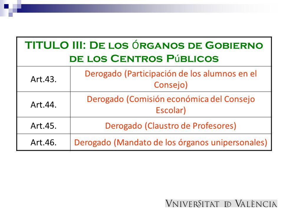 TITULO III: De los Ó rganos de Gobierno de los Centros P ú blicos Art.43. Derogado (Participación de los alumnos en el Consejo) Art.44. Derogado (Comi