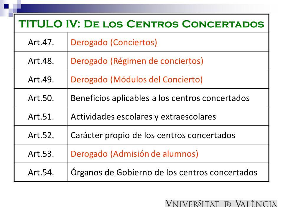 TITULO IV: De los Centros Concertados Art.47.Derogado (Conciertos) Art.48.Derogado (Régimen de conciertos) Art.49.Derogado (Módulos del Concierto) Art