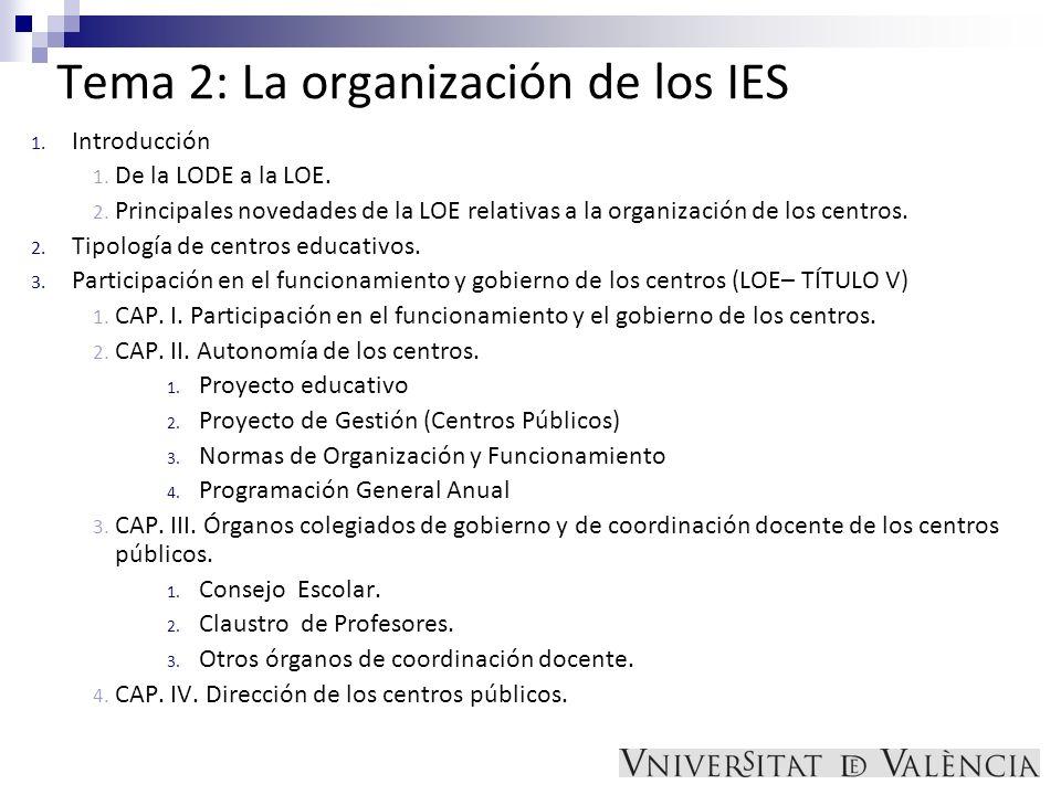 Tema 2: La organización de los IES 1. Introducción 1. De la LODE a la LOE. 2. Principales novedades de la LOE relativas a la organización de los centr