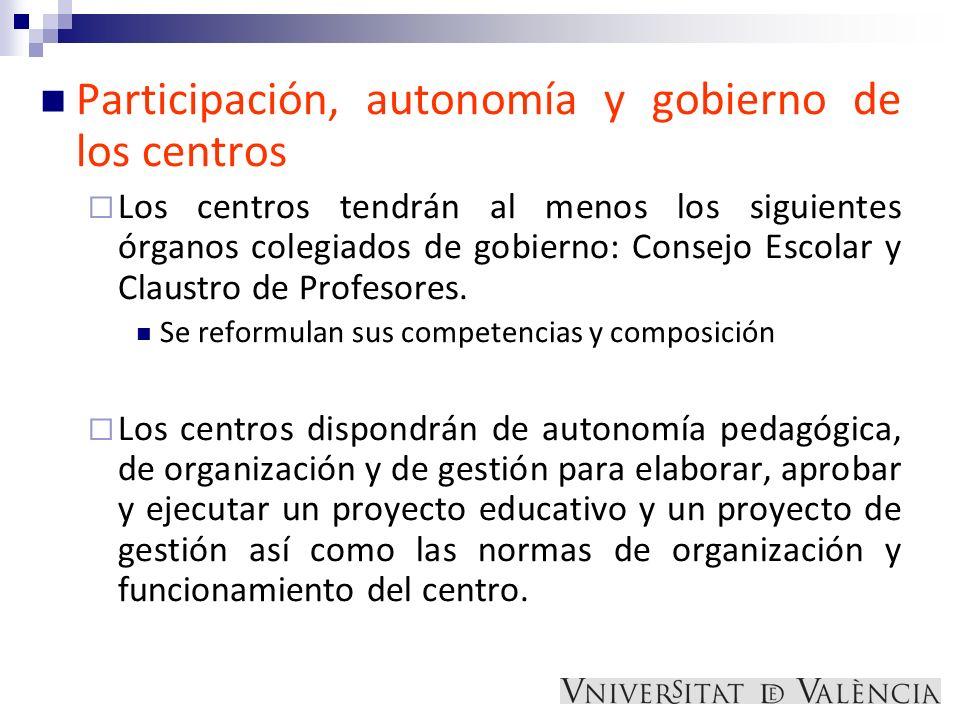Participación, autonomía y gobierno de los centros Los centros tendrán al menos los siguientes órganos colegiados de gobierno: Consejo Escolar y Claus