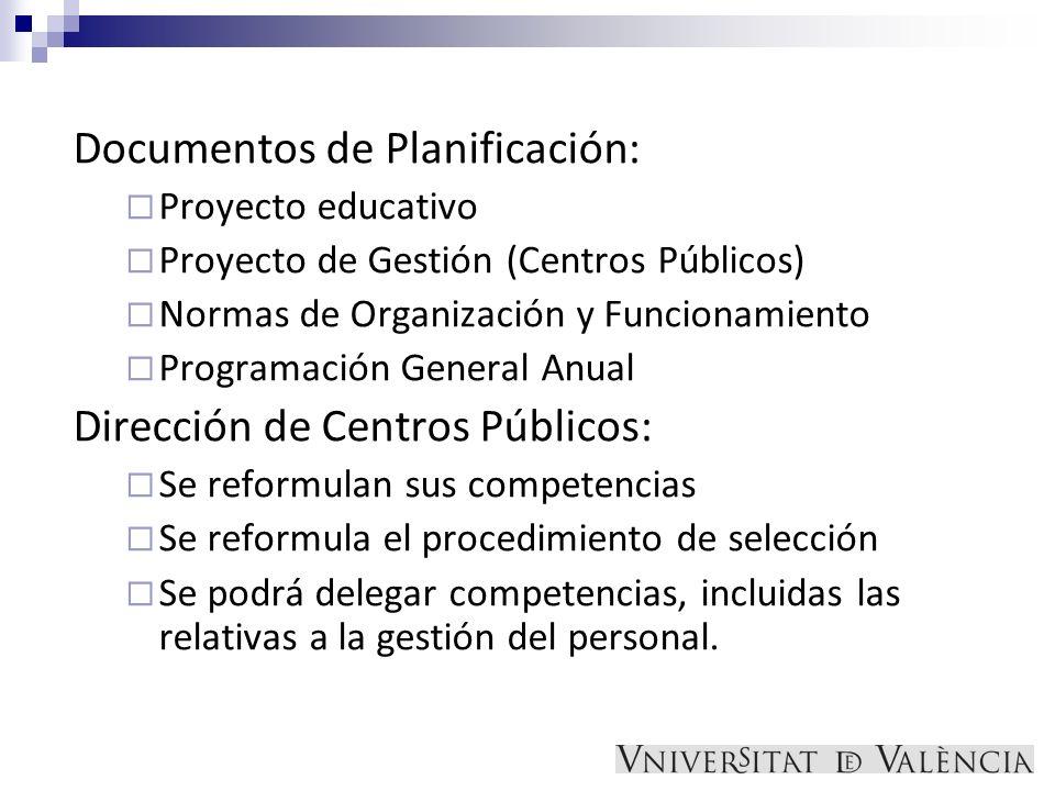 Documentos de Planificación: Proyecto educativo Proyecto de Gestión (Centros Públicos) Normas de Organización y Funcionamiento Programación General An