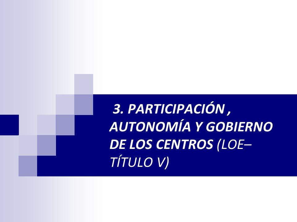3. PARTICIPACIÓN, AUTONOMÍA Y GOBIERNO DE LOS CENTROS (LOE– TÍTULO V)