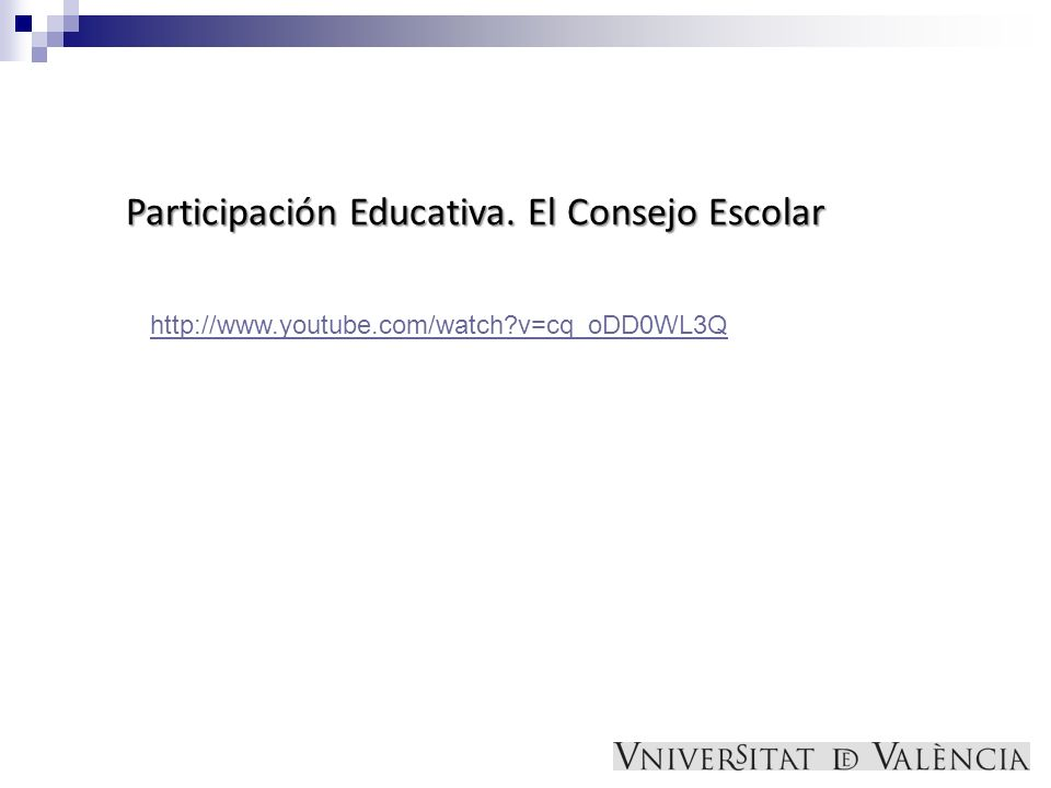 http://www.youtube.com/watch?v=cq_oDD0WL3Q Participación Educativa. El Consejo Escolar