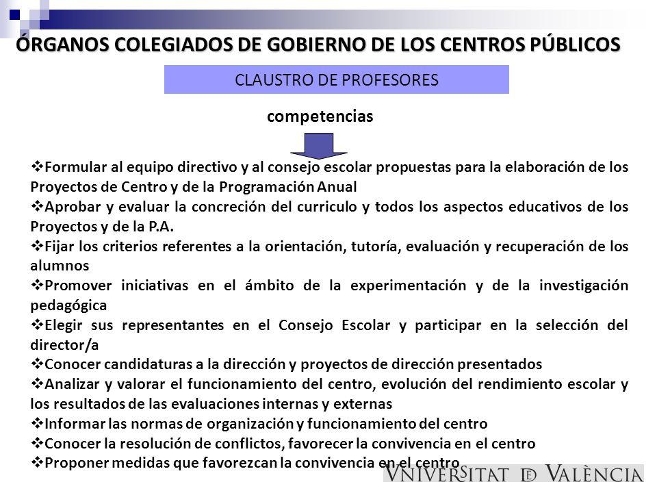 ÓRGANOS COLEGIADOS DE GOBIERNO DE LOS CENTROS PÚBLICOS CLAUSTRO DE PROFESORES Formular al equipo directivo y al consejo escolar propuestas para la ela
