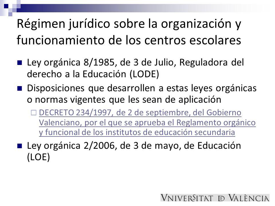 Régimen jurídico sobre la organización y funcionamiento de los centros escolares Ley orgánica 8/1985, de 3 de Julio, Reguladora del derecho a la Educa