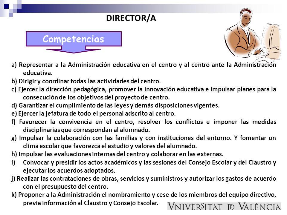 Competencias DIRECTOR/A a) Representar a la Administración educativa en el centro y al centro ante la Administración educativa. b) Dirigir y coordinar