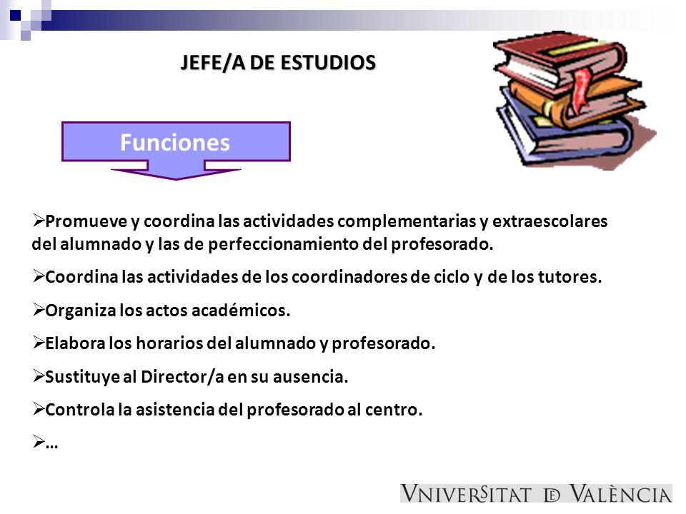 Funciones JEFE/A DE ESTUDIOS Promueve y coordina las actividades complementarias y extraescolares del alumnado y las de perfeccionamiento del profesor