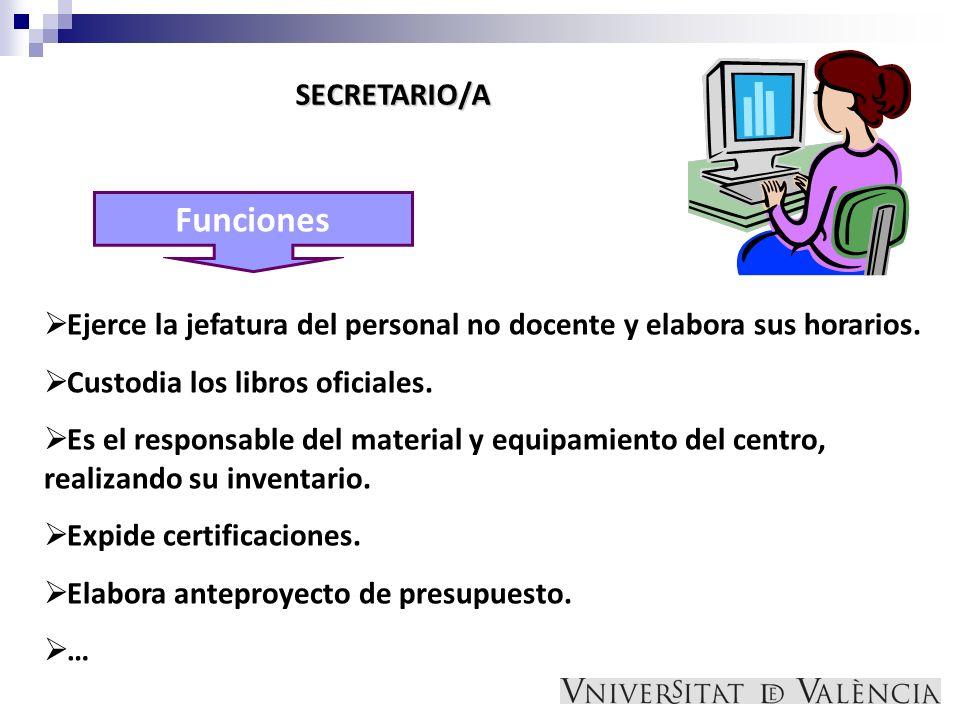 Funciones SECRETARIO/A Ejerce la jefatura del personal no docente y elabora sus horarios. Custodia los libros oficiales. Es el responsable del materia