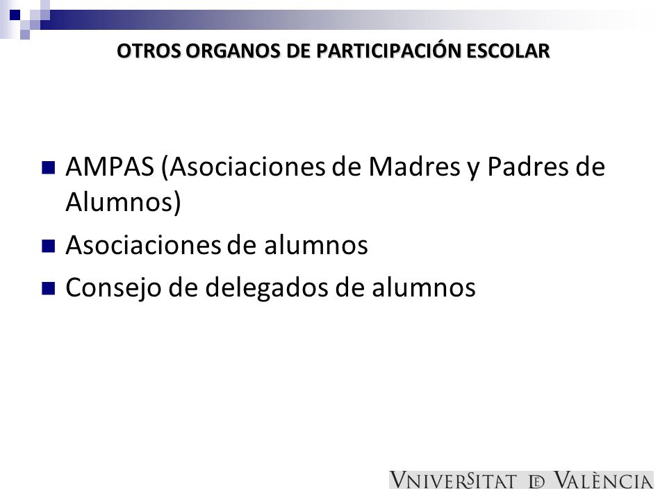OTROS ORGANOS DE PARTICIPACIÓN ESCOLAR AMPAS (Asociaciones de Madres y Padres de Alumnos) Asociaciones de alumnos Consejo de delegados de alumnos