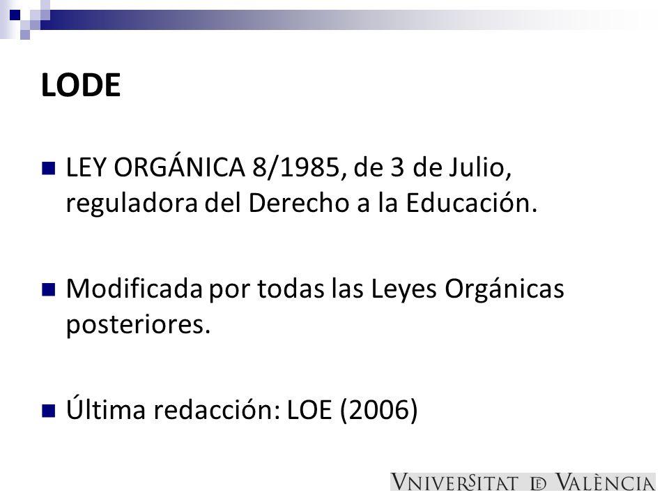 LODE LEY ORGÁNICA 8/1985, de 3 de Julio, reguladora del Derecho a la Educación. Modificada por todas las Leyes Orgánicas posteriores. Última redacción