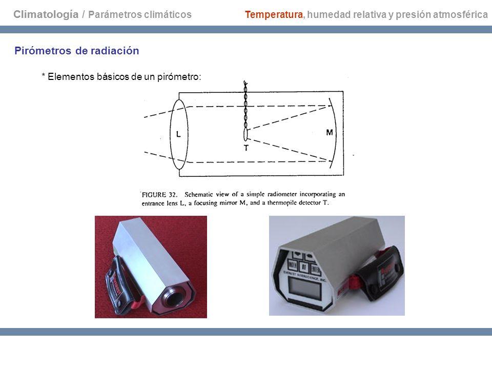 Climatología Pirómetros de radiación * Elementos básicos de un pirómetro: Temperatura, humedad relativa y presión atmosférica Climatología / Parámetro