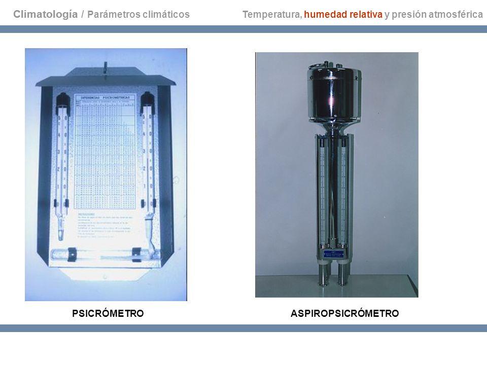 Climatología Temperatura, humedad relativa y presión atmosférica PSICRÓMETROASPIROPSICRÓMETRO Climatología / Parámetros climáticos