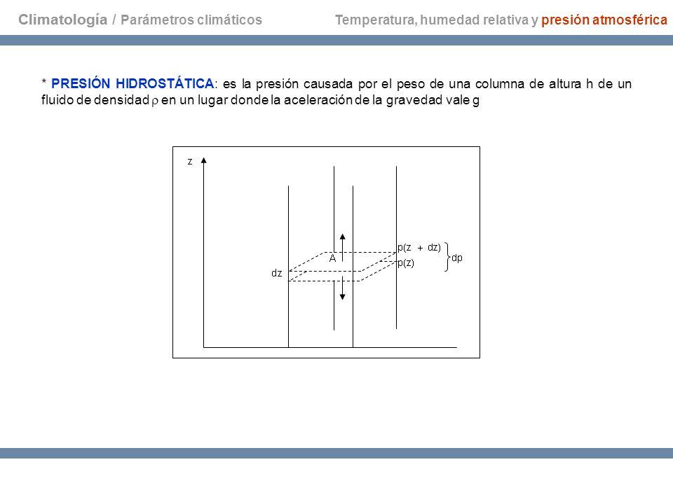 Climatología Temperatura, humedad relativa y presión atmosférica * PRESIÓN HIDROSTÁTICA: es la presión causada por el peso de una columna de altura h