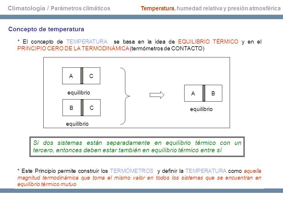 Climatología / Parámetros climáticos Temperatura, humedad relativa y presión atmosférica Concepto de temperatura * El concepto de TEMPERATURA se basa