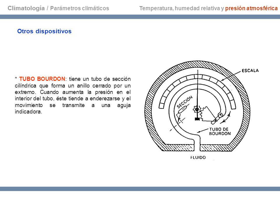 Climatología Otros dispositivos * TUBO BOURDON: tiene un tubo de sección cilíndrica que forma un anillo cerrado por un extremo. Cuando aumenta la pres