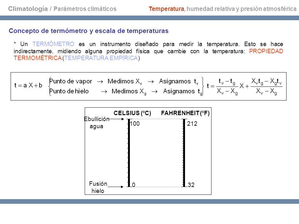 Climatología CELSIUS (ºC)FAHRENHEIT (ºF) 0 100 32 212 Ebullición agua Fusión hielo Concepto de termómetro y escala de temperaturas * Un TERMÓMETRO es