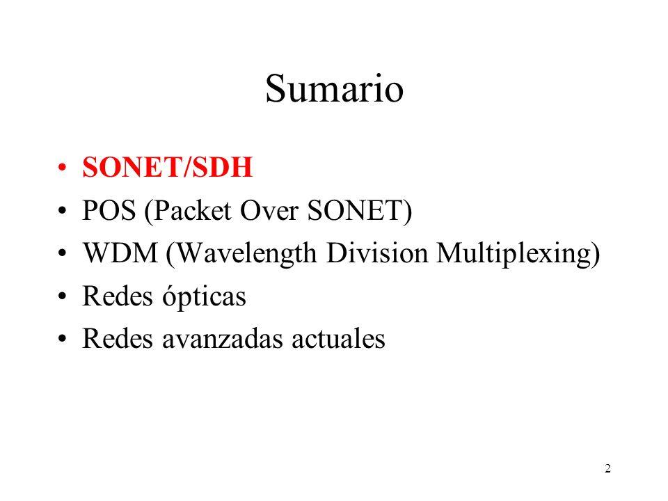 2 Sumario SONET/SDH POS (Packet Over SONET) WDM (Wavelength Division Multiplexing) Redes ópticas Redes avanzadas actuales