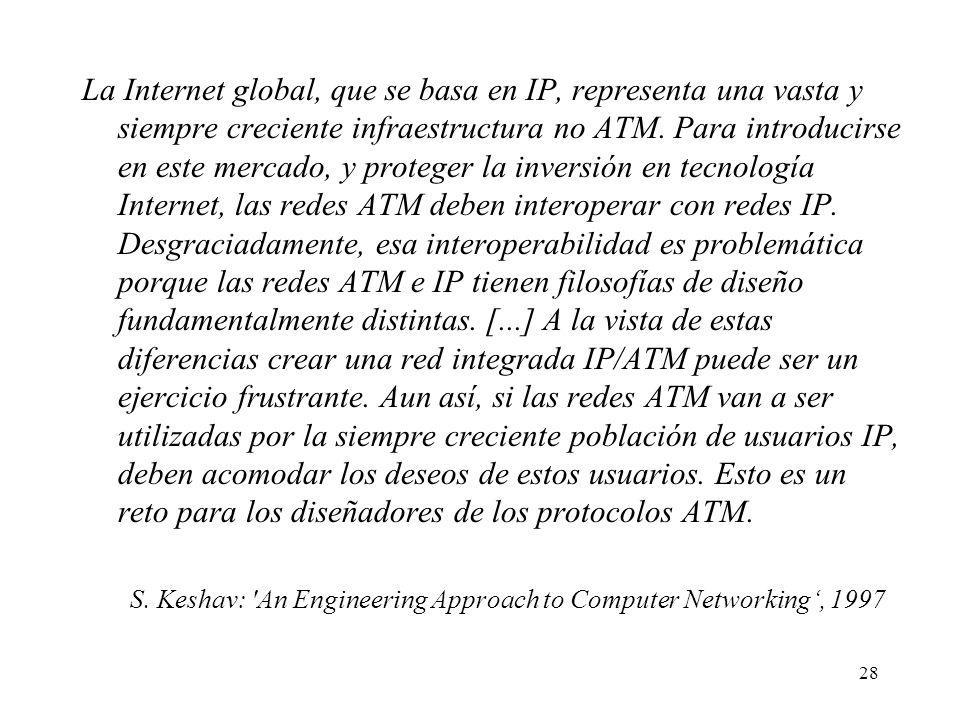 28 La Internet global, que se basa en IP, representa una vasta y siempre creciente infraestructura no ATM. Para introducirse en este mercado, y proteg