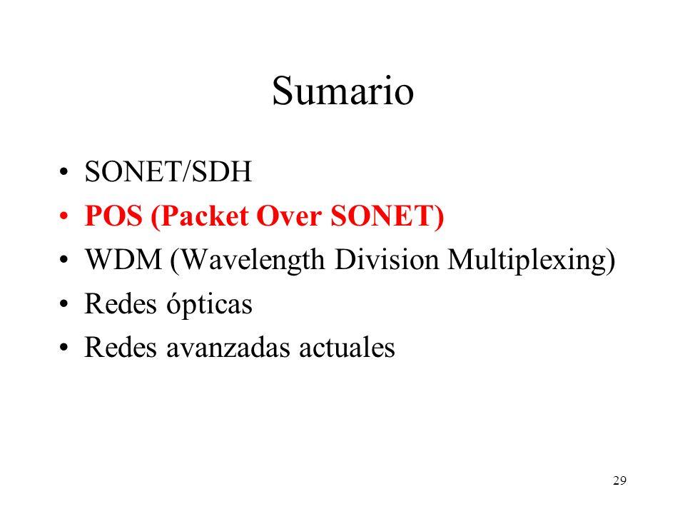 29 Sumario SONET/SDH POS (Packet Over SONET) WDM (Wavelength Division Multiplexing) Redes ópticas Redes avanzadas actuales