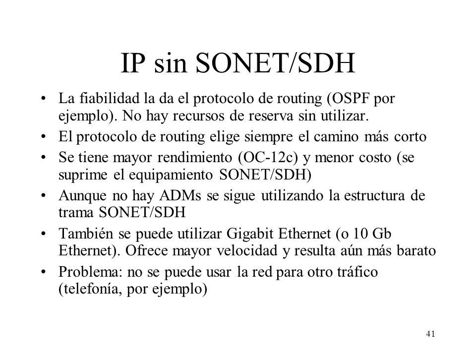 41 IP sin SONET/SDH La fiabilidad la da el protocolo de routing (OSPF por ejemplo). No hay recursos de reserva sin utilizar. El protocolo de routing e