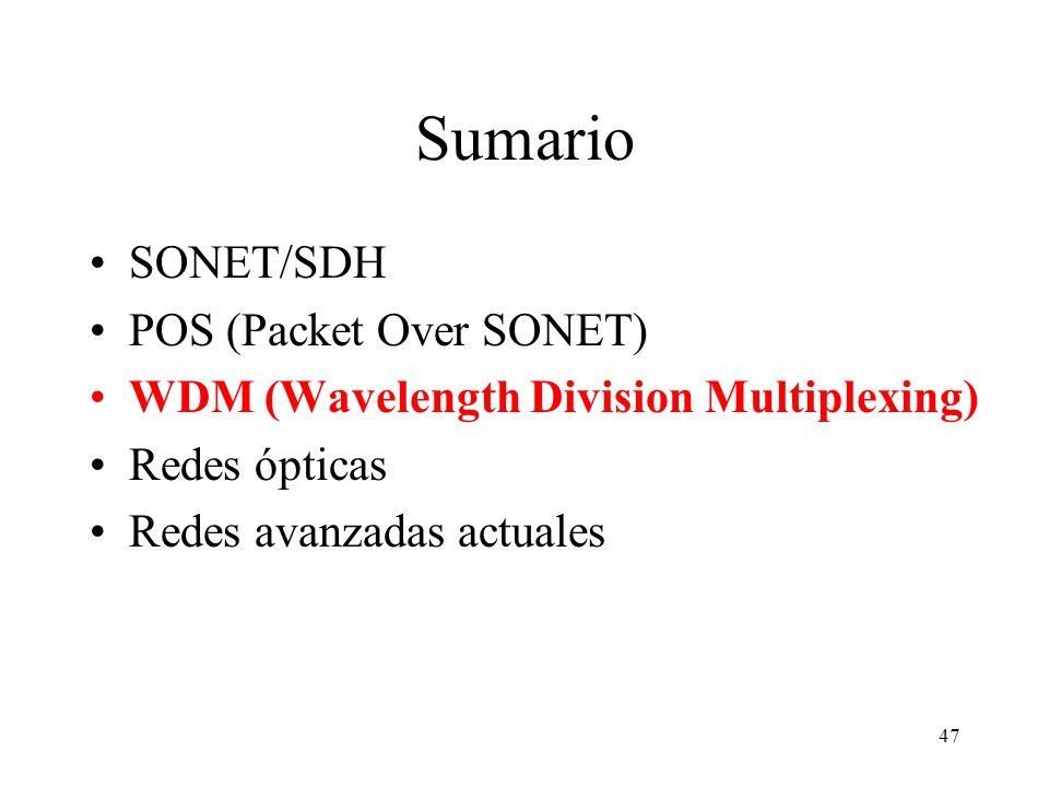 47 Sumario SONET/SDH POS (Packet Over SONET) WDM (Wavelength Division Multiplexing) Redes ópticas Redes avanzadas actuales